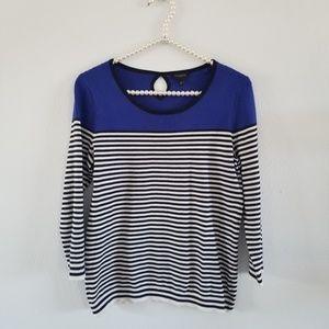 Talbots | Blue, White & Black Colorblock Sweater
